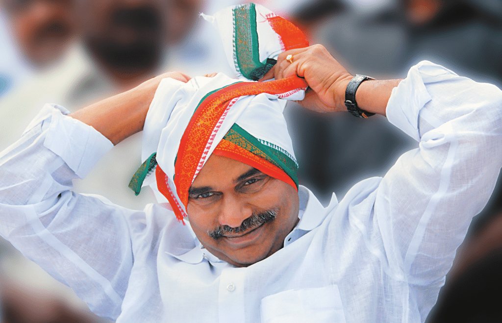 YS Rajashekar Reddy inhis whites and head gear