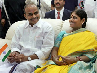 YS Rajashekar Reddy with wife Vijayamma